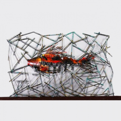 metal famous fish modern wall art decoration for five-star hotels